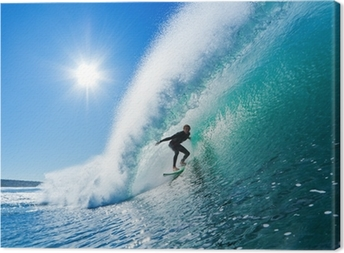 Canvas Surfer op Blue Ocean Wave