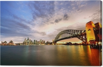 Canvas Sydney Harbor Panorama bij schemering