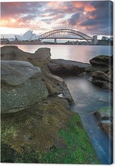 Canvas Sydney Opera House en de Harbour Bridge ..