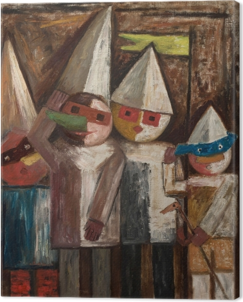 Canvas Tadeusz Makowski - Dětský karneval s vlajkou - Reproductions