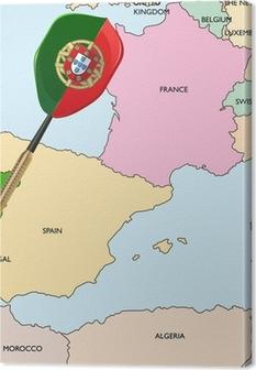 Canvas Target - Portugal. Dart raken in Portugal op de kaart van Europa.