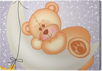 Canvas Teddy beer slapen op een maan