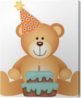 Canvas Teddybeer met Birthday Cake