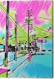 Canvas Tekenen en schilderen blauwe stad met roze en groene hemel