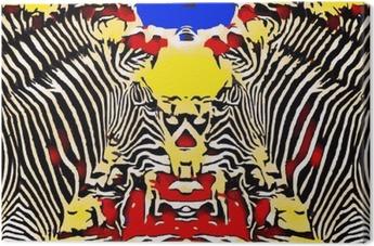 Canvas Tekenen en schilderen zebra's met rode gele en blauwe achtergrond