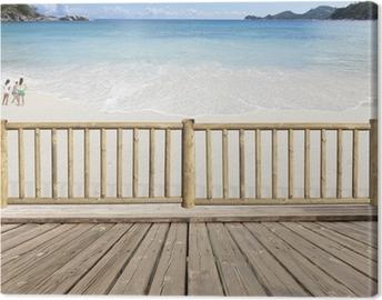 Canvas Terras balkon met uitzicht op zee in de Seychellen