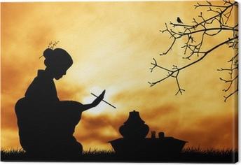 Canvas Theeceremonie bij zonsondergang