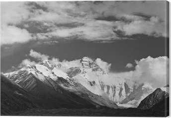 Canvas Tibet: mount everest in zwart-wit