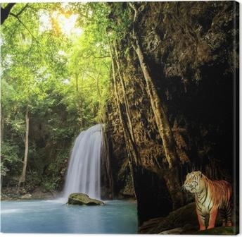 Canvas Tijger in de jungle.