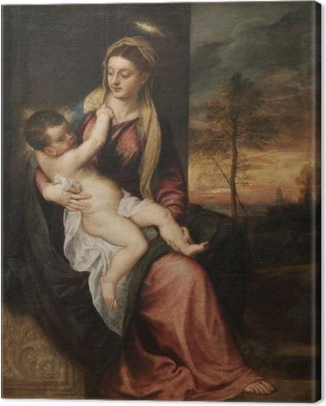 Canvas Titiaan - Madonna met Kind tegen een avondlandschap - Reproducties