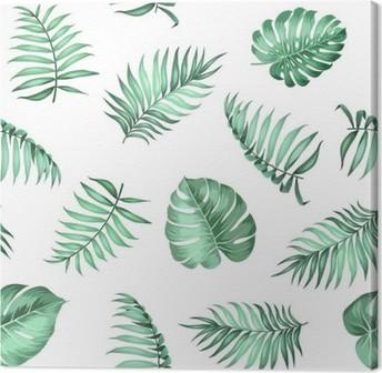 Canvas Topical palmbladeren op naadloze patroon voor stof textuur. Vector illustratie.