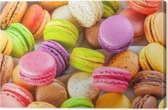 Canvas Traditionele Franse kleurrijke macarons in een doos