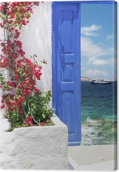 Canvas Traditionele Griekse deur op het eiland Mykonos, Griekenland