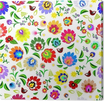 Canvas Traditionele Poolse repetitief folk bloemmotief vector