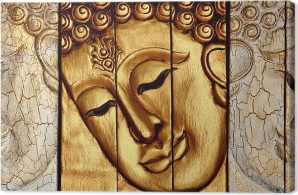 Canvas traditionele thaise stijl boeddhas gezicht houtsnijwerk