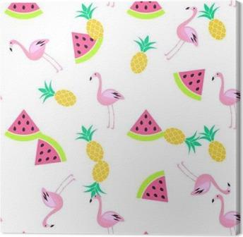 Canvas Tropic zomer naadloze witte patroon met watermeloen, flamingo en ananas. Roze en geel leuk patroon.