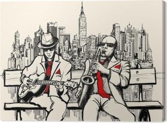 Canvas Twee jazz mannen spelen in New York