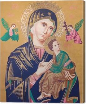 Canvas Typische katholieke beeld van de Madonna met het kind (Onze Lieve Vrouw van Altijddurende Bijstand)