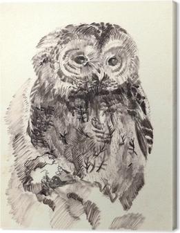 Canvas Uil borstel tekening schets