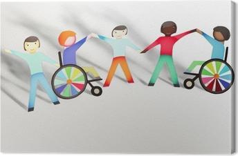 Canvas Uitgeschakeld. Familie concept met rolstoel- papieren poppen