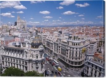 Canvas Uitzicht op de Gran Via van Madrid (Spanje)