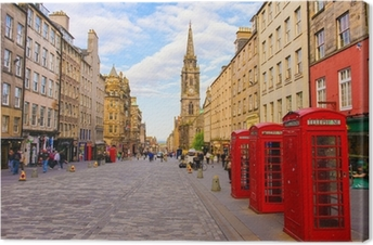 Canvas Uitzicht op straat van Edinburgh, Schotland, Groot-Brittannië