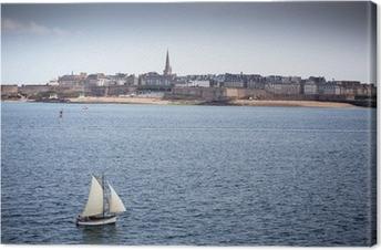Canvas Uitzicht over de ommuurde stad Saint-Malo, Bretagne, Frankrijk