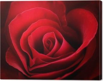 Canvas Valentine Red Rose. Hart vormige