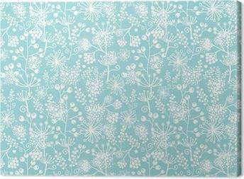 Canvas Vector blauwe en witte kant tuinplanten naadloos patroon