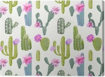 Canvas Vector Cactus achtergrond. Naadloos Patroon. Exotic Plant. Keerkring