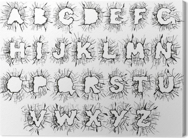 Canvas Vector glas splitter alfabet op een witte achtergrond ...