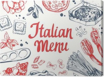 Canvas Vector illustratie met pasta machine, ravioli en groenten.