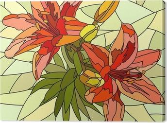Canvas Vector illustratie van bloem rode lelies.