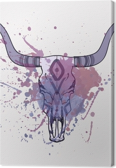 Canvas Vector illustratie van de stier schedel met waterverf splash
