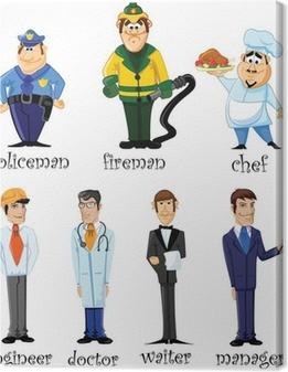 Canvas Vector illustratie van mensen van verschillende beroepen