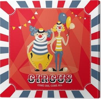 Canvas Vector kaart met clowns