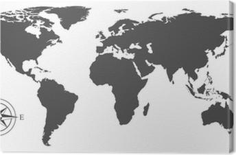 Canvas Vector kaart van de wereld