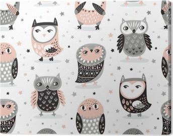 Canvas Vector naadloze patroon met cartoon uilen. kinderkamer inrichting
