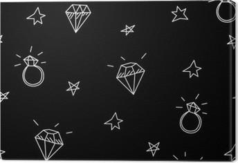 Canvas Vector naadloze patroon met trouwringen, sterren en juwelen. Old school tattoo elementen. hipster stijl