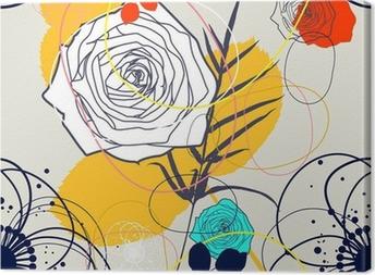 Canvas Vector Retro bloemen (naadloze patroon)