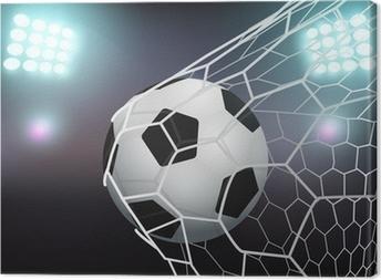 Canvas Vector voetbal in het doel net op het stadion met licht