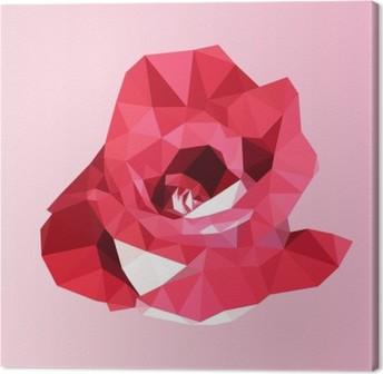 Canvas Veelhoekige rode roos. poly laag geometrische driehoek bloem vector