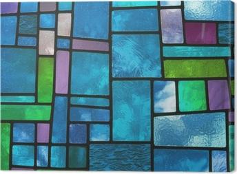 Canvas Veelkleurige gebrandschilderd blauwe glazen venster, vierkant formaat