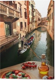 Canvas Venetië met Italiaanse pizza tegen kanaal in Italië