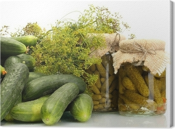 Canvas Verse komkommers, augurken en dille die op wit