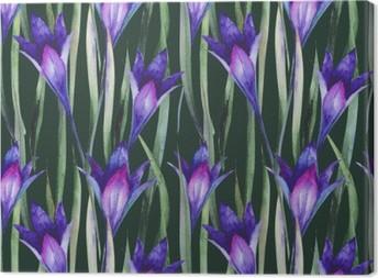 Canvas Verse wilde bloemen, gras. Patroon, aquarel.