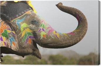 Canvas Versierde olifant op de olifant festival in Jaipur