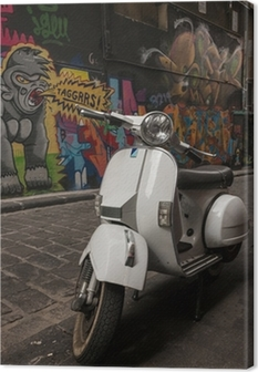 Canvas Vespa scooter geparkeerd in Hosier Lane, Melbourne