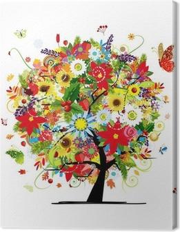 Canvas Vier seizoenen concept. Kunst boom voor uw ontwerp