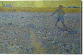 Canvas Vincent van Gogh - De zaaier bij zonsondergang